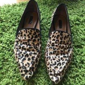 Topshop Pointed Toe Calf-hair Leopard Flats❤️